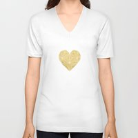 gold foil V-neck T-shirts featuring Geometric Gold Foil Heart by Always Brighter