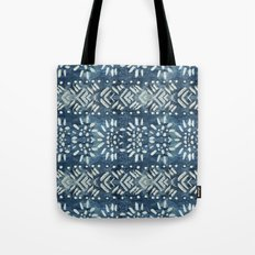 Vintage indigo inspired  flowers and lines Tote Bag