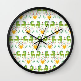 Green horses in love Wall Clock