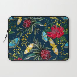 Protea and Watarah with golden wattle, Australian flowers and butterfly moths painted in watercolor Laptop Sleeve