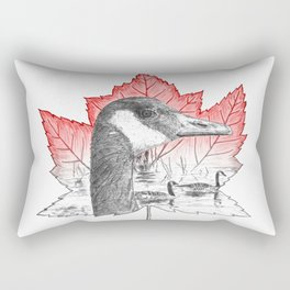 Canada Goose on Maple Leaf (with some red) Rectangular Pillow