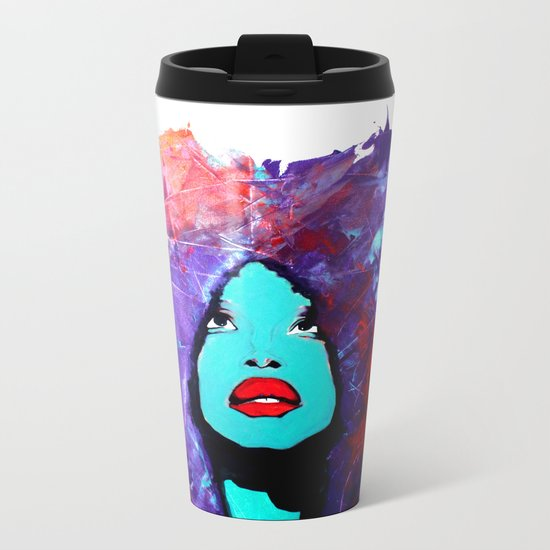 afro color Metal Travel Mug