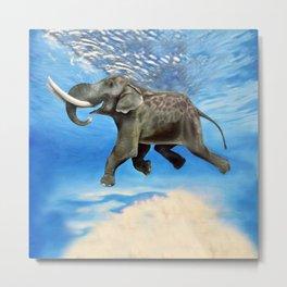 Rajan The Swimming Elephant Metal Print