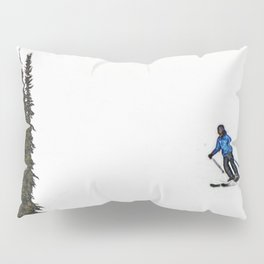 Downhill Skier - Winter Sports Scene Pillow Sham