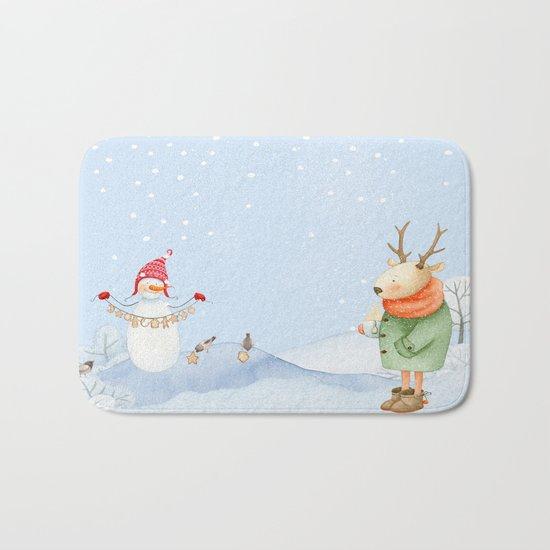 Merry christmas- Snowman Deer and birds are having Winter fun Bath Mat
