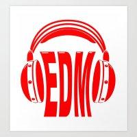 edm Art Prints featuring EDM Style Headphones by Mark
