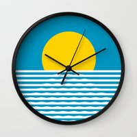 sunrise Wall Clocks featuring Sunrise by FLATOWL