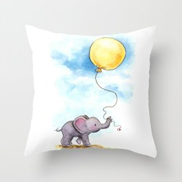 Baby elephant  with yellow balloon Throw Pillow
