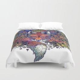 Hiding fox rainbow Duvet Cover