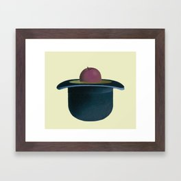 A single plum floating in perfume served in a man's hat. Framed Art Print