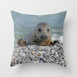 Gray seal - Kegelrobbe Throw Pillow