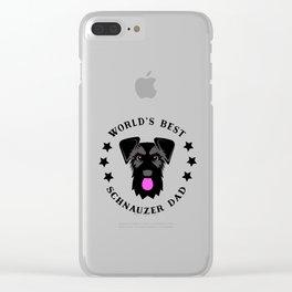 World's Best Schnauzer Dad Black Giant Schnauzer Clear iPhone Case