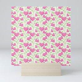 Cute Heart Flower Pattern Mini Art Print