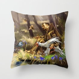 St.Francis and the Wild Goose Throw Pillow