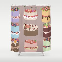 Set of delicious cakes with fruits and berries Shower Curtain