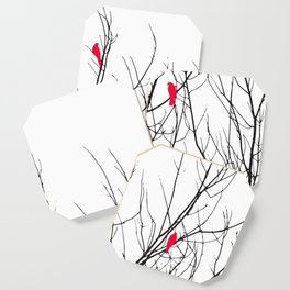 Artistic Bright Red Birds on Tree Branches Coaster