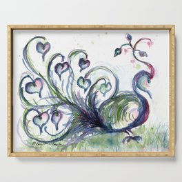 Peacock Pink Hearts watercolour by CheyAnne Sexton Serving Tray