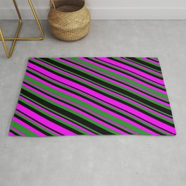 Fuchsia, Forest Green & Black Colored Lines/Stripes Pattern Rug