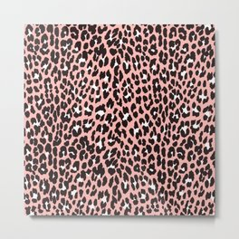 Blush pink black white abstract cheetah animal print Metal Print