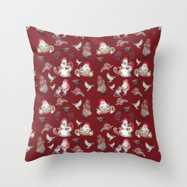 Red Gnome Pattern - Christmas Throw Pillow