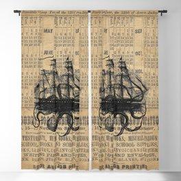 Octopus Kraken attacking Ship Antique Almanac Paper Blackout Curtain