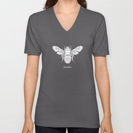 Humblebee White on Purple Background Unisex V-Neck