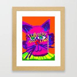 Pop Art Cat Head Framed Art Print