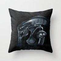 xenomorph Throw Pillows featuring Mama Xenomorph by Nataliette