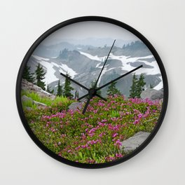 THE LAST OF SUMMER'S SNOW FROM KULSHAN RIDGE Wall Clock