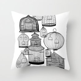 If you leave the cage door open Throw Pillow