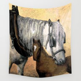 Plow Horse and Foal Wall Tapestry