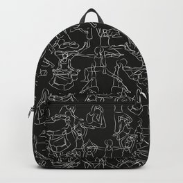 Chalkboard Yoga Pattern - white on black Backpack