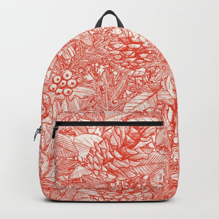 forest floor fire orange ivory Backpack