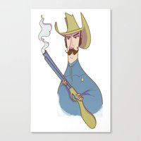 cowboy Canvas Prints featuring Cowboy by Franck Giusti