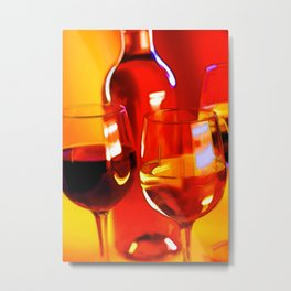 Abstract Bottle of Wine and Glasses of Red and White.jpg Metal Print