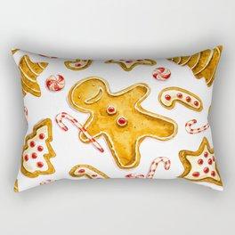 Gingerbread cookies pattern in watercolor Rectangular Pillow