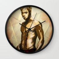 tyler durden Wall Clocks featuring Tyler Durden- Fight Club. by Gerkyart.