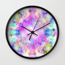 Abstract pink lavender lilac teal  modern kaleidoscope pattern Wall Clock