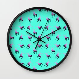 Pink elk silhouettes against turquoise green background pattern design Wall Clock