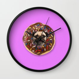Pug Chocolate Donut Wall Clock