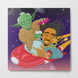 """""""Space coupe Quavo - Yoda pouring drinking soda"""" Metal Print"""