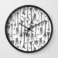 bones Wall Clocks featuring Bones by Deborah Panesar Illustration