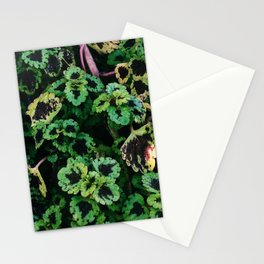 Green Leaf Flowers Stationery Cards