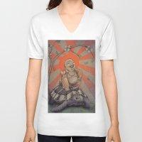 buddah V-neck T-shirts featuring Buddah by BBarends
