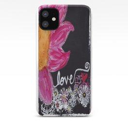 PINK FLOWER LOVE iPhone Case