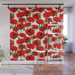 Red Poppy Pattern Wall Mural