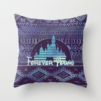 forever young Throw Pillows featuring forever young by Sara Eshak