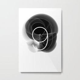Typographic Treatment of the number 9. Dark Math 9.  Metal Print