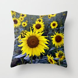 Sunflower Poetry Throw Pillow