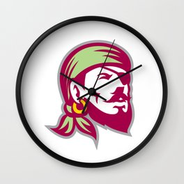 Pirate Eyepatch Headscarf Looking Up Retro Wall Clock